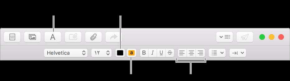 شريط الأدوات وشريط التنسيق في نافذة رسالة جديدة، مع الإشارة إلى أزرار لون النص ولون خلفية النص ومحاذاة النص.