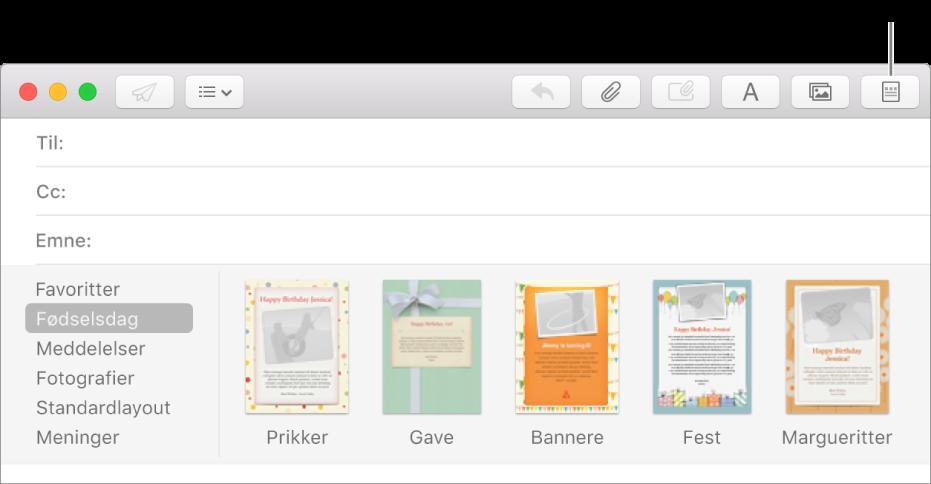 Klik på knappen Standardlayout i øverste højre hjørne af en ny besked for at se skabelonerne til standardlayout, f.eks. Fødselsdag.