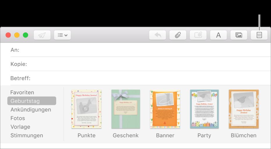 Personalisieren von E-Mails mithilfe von Vorlagen in Mail auf dem ...