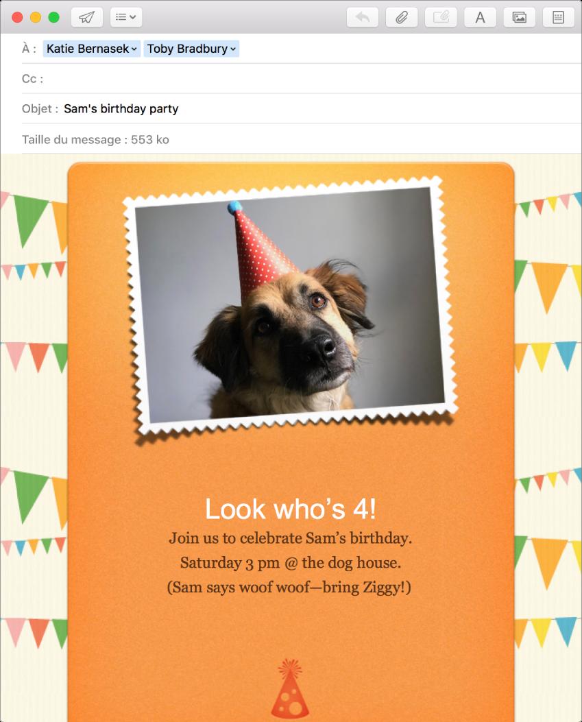 La fenêtre de rédaction de Mail affichant un nouveau message utilisant un modèle et une photo.