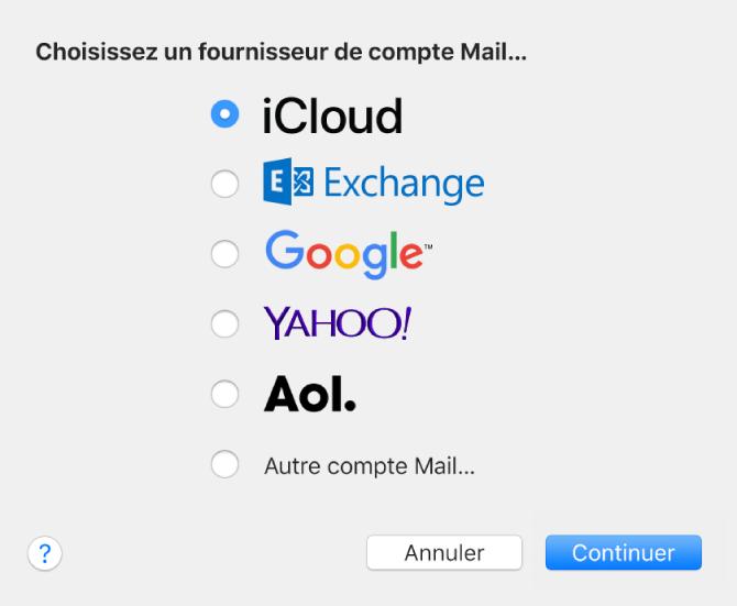 La sous-fenêtre Ajouter un compte pour ajouter des comptes de messagerie électronique à Mail.