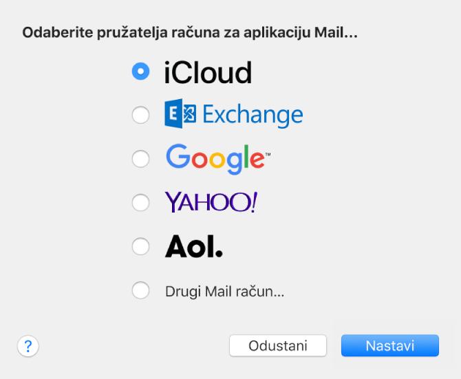 Prozor Dodaj račun za dodavanje e-mail računa u aplikaciju Mail.