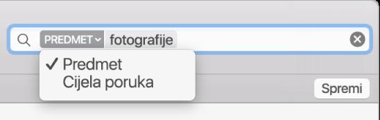 Kliknite na strelicu u filtru za pretragu da biste promijenili filtar.