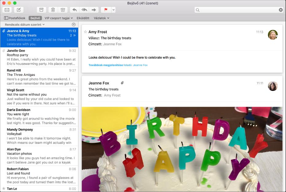 A Mail ablaka, melyben az üzenetek listája, és az előnézet részben egy képeket tartalmazó üzenet látható.