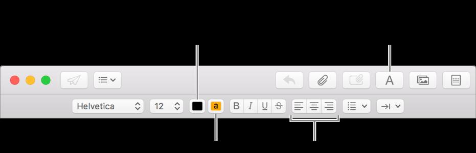 Bar alat dan bar pemformatan di jendela pesan baru yang menandakan tombol warna teks, warna latar belakang teks, dan perataan teks.