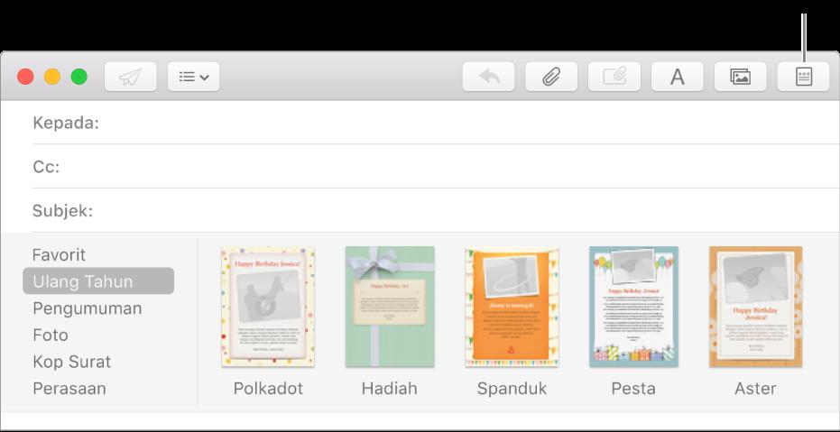 Klik tombol Kop Surat di pojok kanan atas pesan baru untuk menampilkan template kop surat, seperti Ulang Tahun.