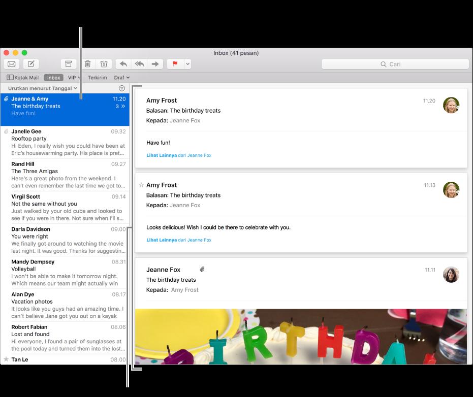 Hanya pesan terbaru dari percakapan yang ditampilkan di daftar pesan. Angka di pesan teratas menunjukkan ada berapa pesan percakapan di kotak mail saat ini. Mengikuti percakapan di area pratinjau.