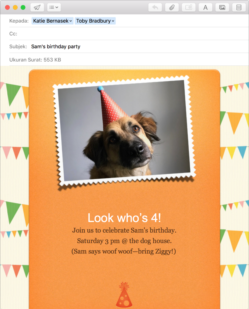 Jendela tulis Mail menampilkan pesan baru yang menggunakan kop surat dan foto.
