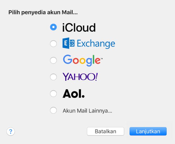 Panel Tambah Akun untuk menambahkan akun email ke Mail.