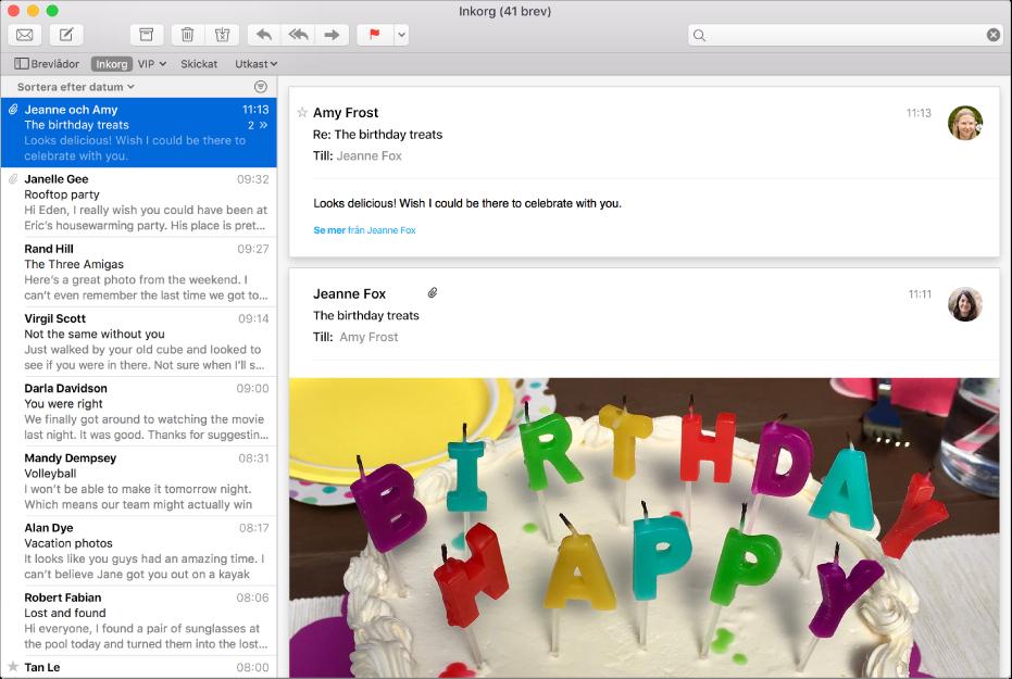 Mail-fönstret med brevlistan och ett brev med bilder i förhandsvisningsområdet.