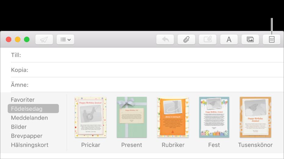 Klicka på brevmallsknappen i det övre högra hörnet av ett nytt brev för att visa Födelsedag och många andra brevmallar.