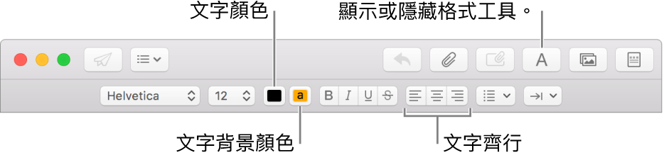 新增郵件視窗中的工具列和格式列,指出文字顏色、文字背景顏色和文字對齊方式按鈕。