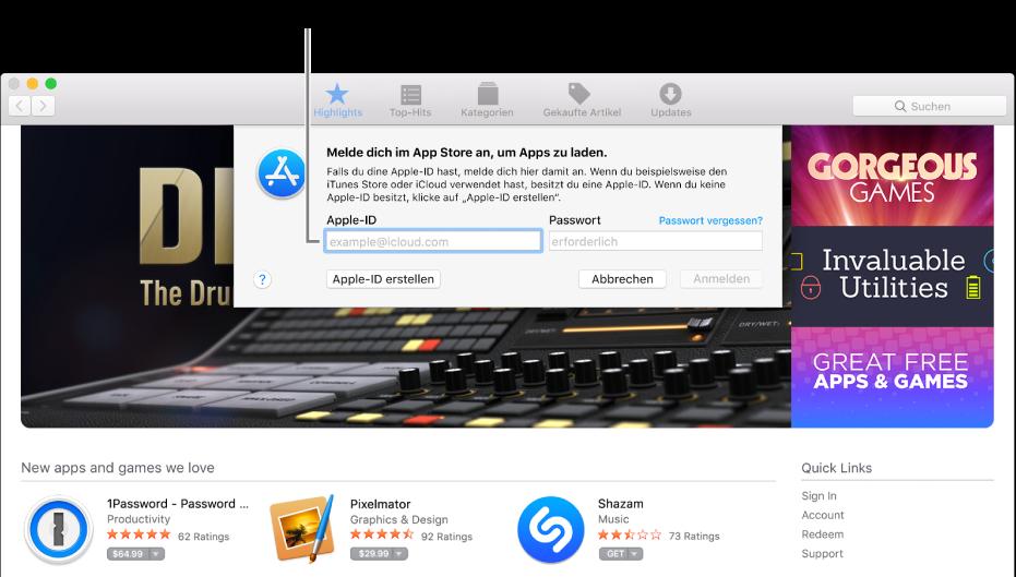 Das Fenster zur Anmeldung beim App Store mithilfe der Apple-ID.