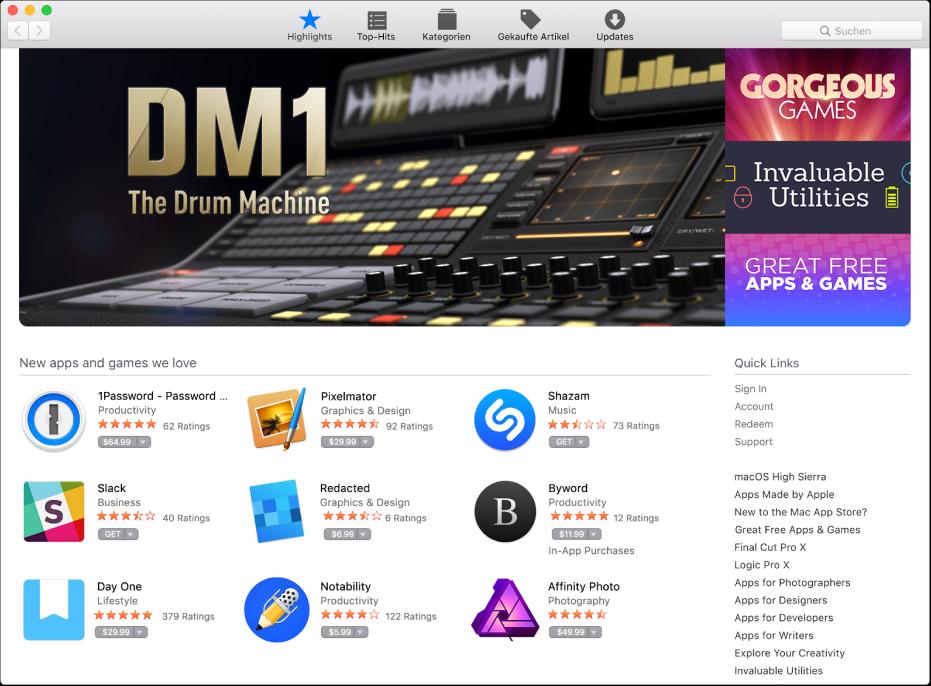 Highlights im App Store.