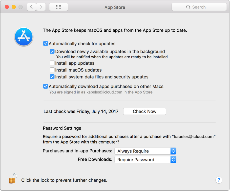 Update options in App Store preferences.