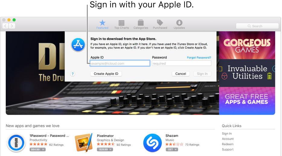 The Apple ID sign in window in App Store.