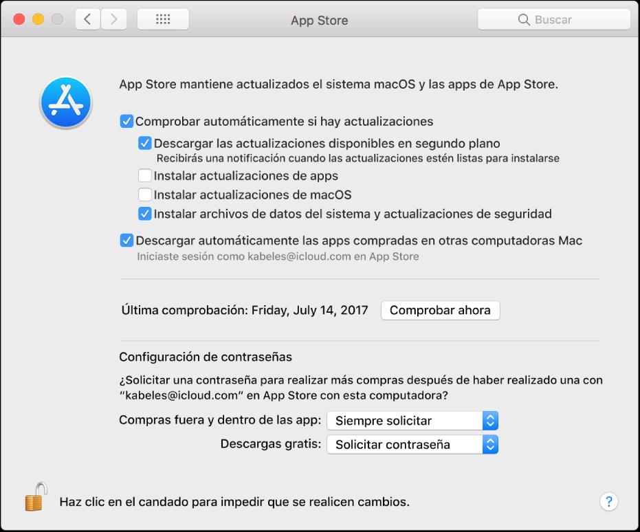 Actualiza las opciones en las preferencias de App Store.
