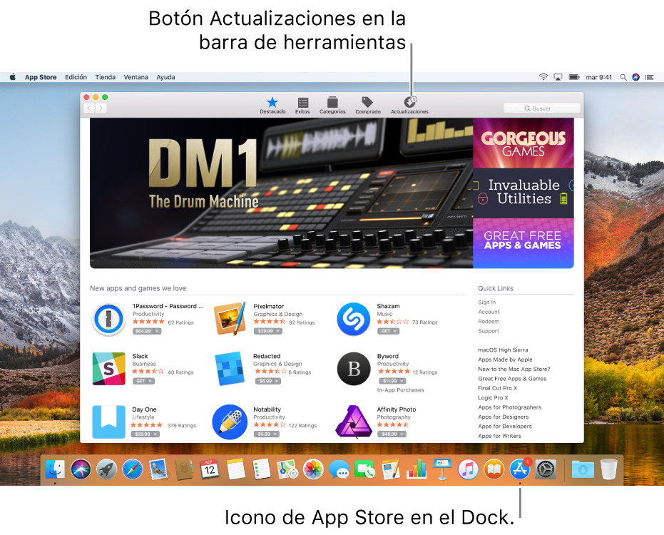 Indicadores en la ventana de la tienda AppStore y en el icono de AppStore del Dock que muestran el número de actualizaciones disponibles