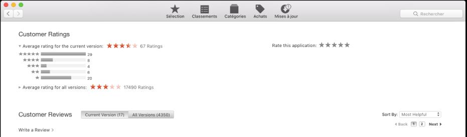 Notes des clients dans l'AppStore.
