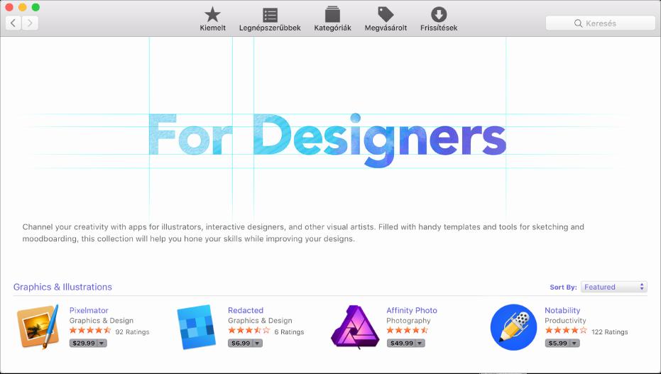 Az App Store Kiemelt nézete.