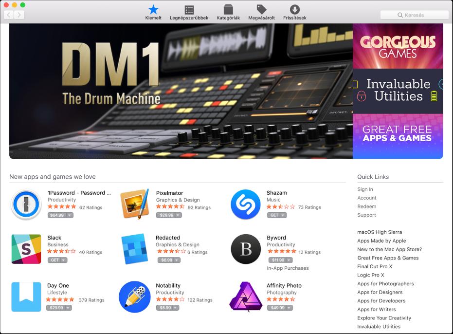 Kiemelt alkalmazások az App Store-ban.