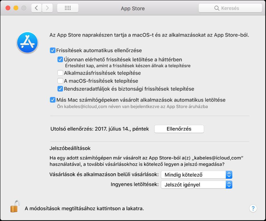 Frissítési beállítások az App Store beállításaiban.