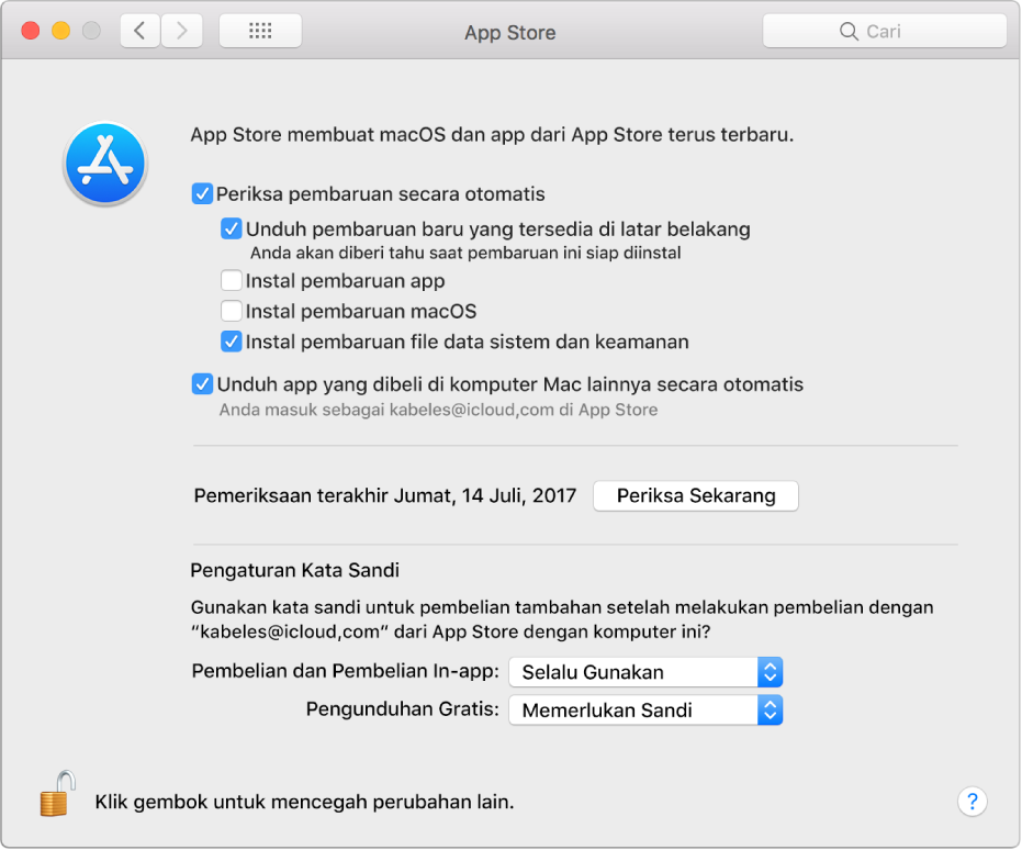Pilihan pembaruan di preferensi App Store.