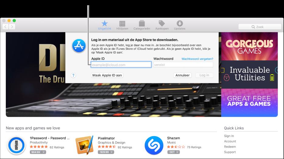 Het AppleID-inlogvenster in de AppStore.