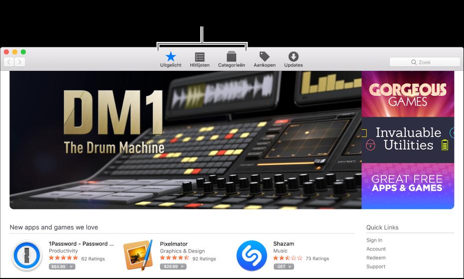 De gedeelten 'Uitgelicht', 'Hitlijsten' en 'Categorieën' in de AppStore.