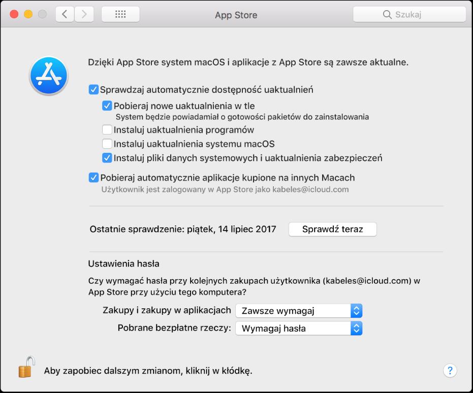 Opcje uaktualniania wpreferencjach AppStore.
