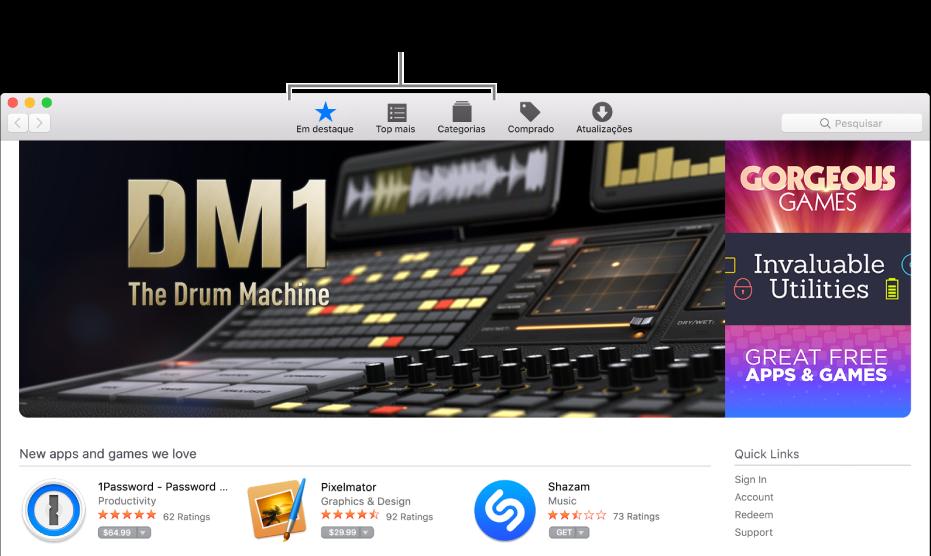 """As secções """"Em destaque"""", """"Top mais"""" e Categorias na App Store."""