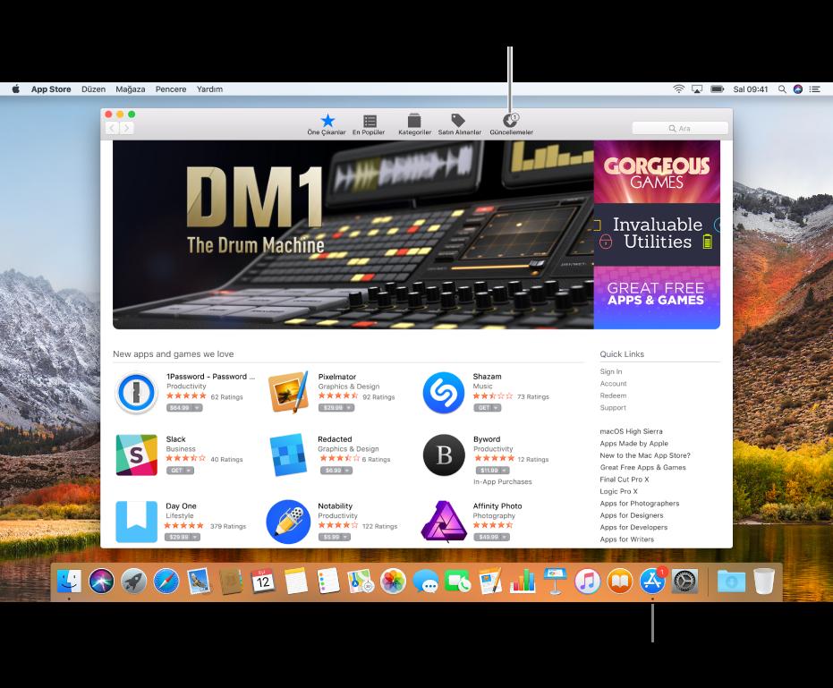 App Store penceresinde ve Dock'ta App Store simgesi üzerinde güncellemeler olduğunu gösteren işaretler.
