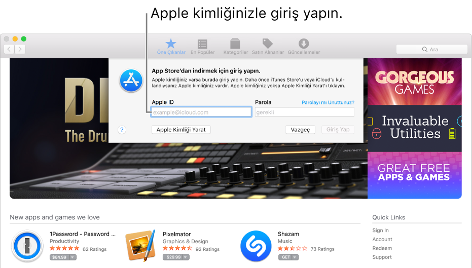 App Store'da Apple kimliği giriş penceresi.
