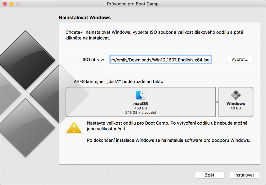 Okno instalace vPrůvodci pro Boot Camp Vpravo dole je tlačítko Instalovat avlevo je tlačítko Zpět.