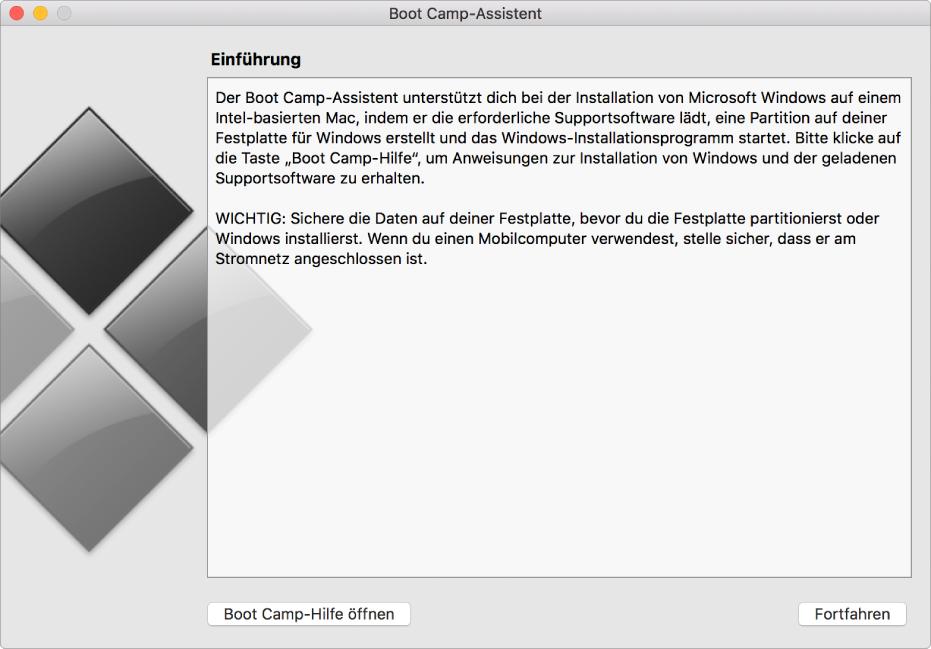 Der Boot Camp-Einführungsbildschirm mit einer Taste für die Online-Hilfe und einer Taste, um die Installation fortzusetzen.