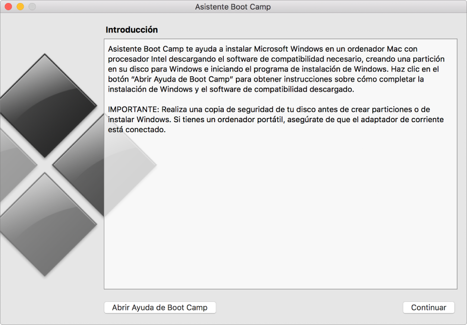 Panel de introducción de BootCamp, con un botón de ayuda y otro botón para continuar con la instalación.