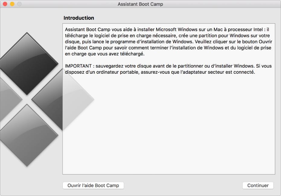 La sous-fenêtre d'introduction à BootCamp, présentant un bouton pour accéder à l'aide et un bouton permettant de poursuivre l'installation.