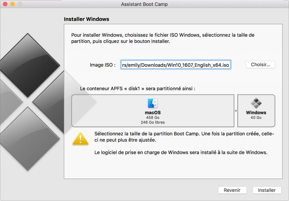 La fenêtre d'installation d'Assistant BootCamp. Le bouton Installer se trouve en bas à droite, et le bouton Revenir se trouve à gauche.