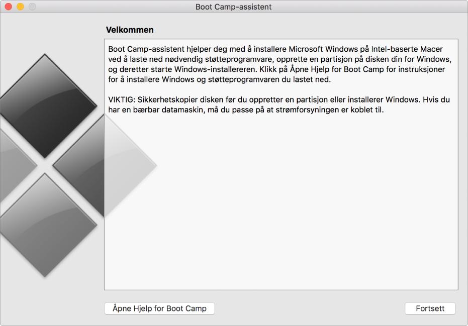 Introduksjonspanelet i Boot Camp som viser en knapp som kan klikkes på for å vise hjelp, og en knapp for å fortsette med installeringen.