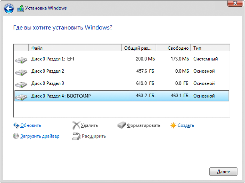 Окно установки Windows, диалоговое окно выбора места установки Windows открыто, и выбран раздел BOOTCAMP.