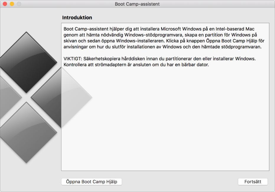 Introduktionspanelen till Boot Camp som visar en knapp du kan klicka på för att få hjälp och en knapp för att fortsätta med installationen.