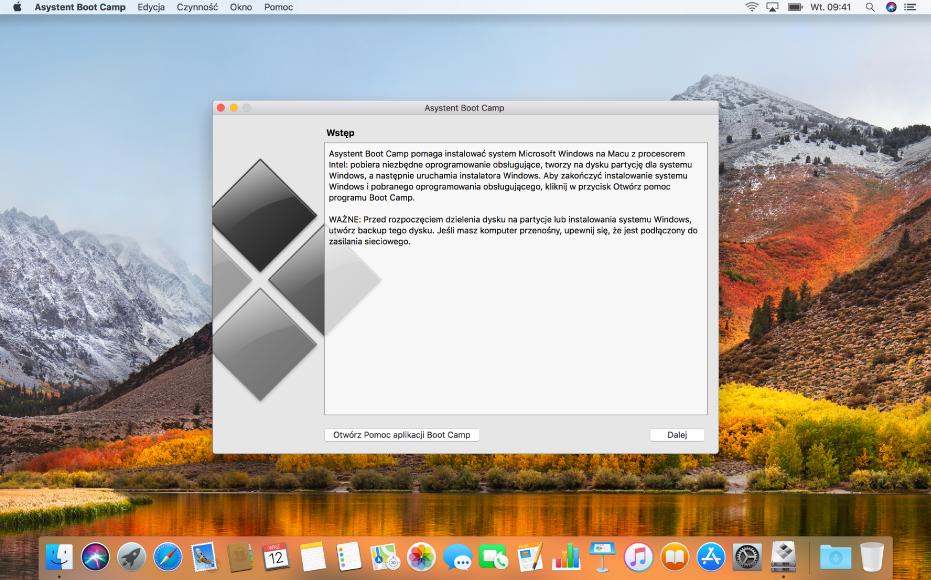 Otwarty BootCamp gotowy do zainstalowania Windows.