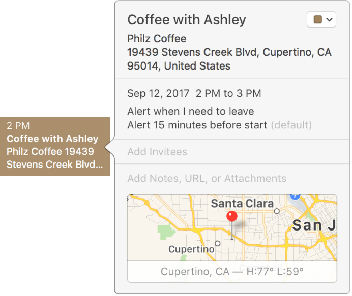 The info window for an event showing the location name and address and a small map.