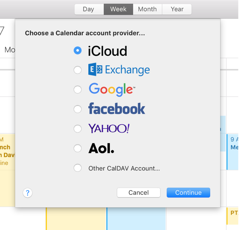 A Calendar window showing the Add Account pane.
