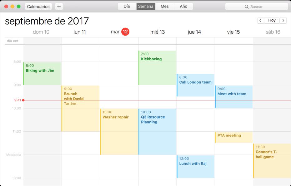 Ventana de Calendario en la visualización por semanas.
