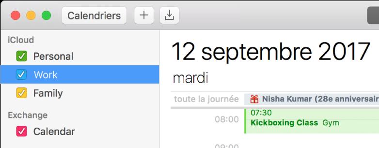 Une fenêtre Calendrier en présentation Journée affichant dans la barre latérale des calendriers personnels, professionnels et familiaux auxquels est appliqué un code couleur sous l'en-tête du compte iCloud, et un autre calendrier sous l'en-tête du compte Exchange.
