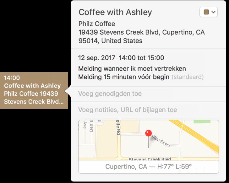 Het infovenster voor een activiteit met de naam en het adres van de locatie en een kleine kaart.