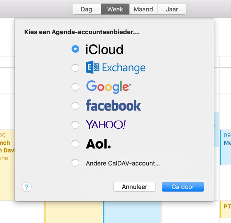 Een Agenda-venster met het paneel 'Voeg account toe'.