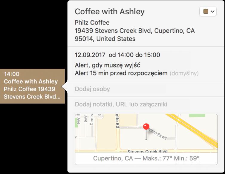 Okno informacji owydarzeniu, zawierające nazwę miejsca oraz adres, atakże małą mapę.