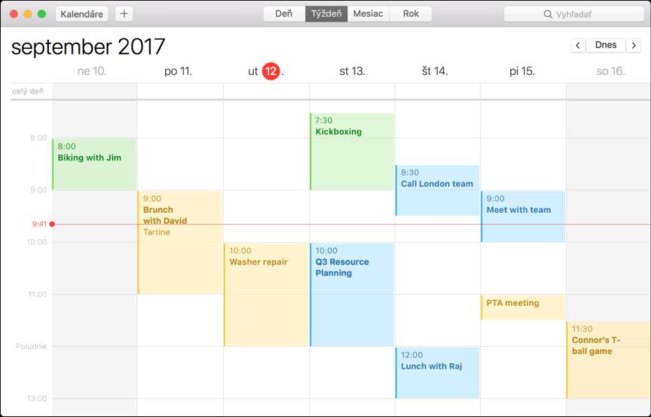 Okno aplikácie Kalendár vzobrazení Týždeň.